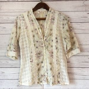 Johnny Was Watercolor Floral Button Down Shirt